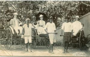 British People in Hand Pulling Rickshaws - Agra 1902